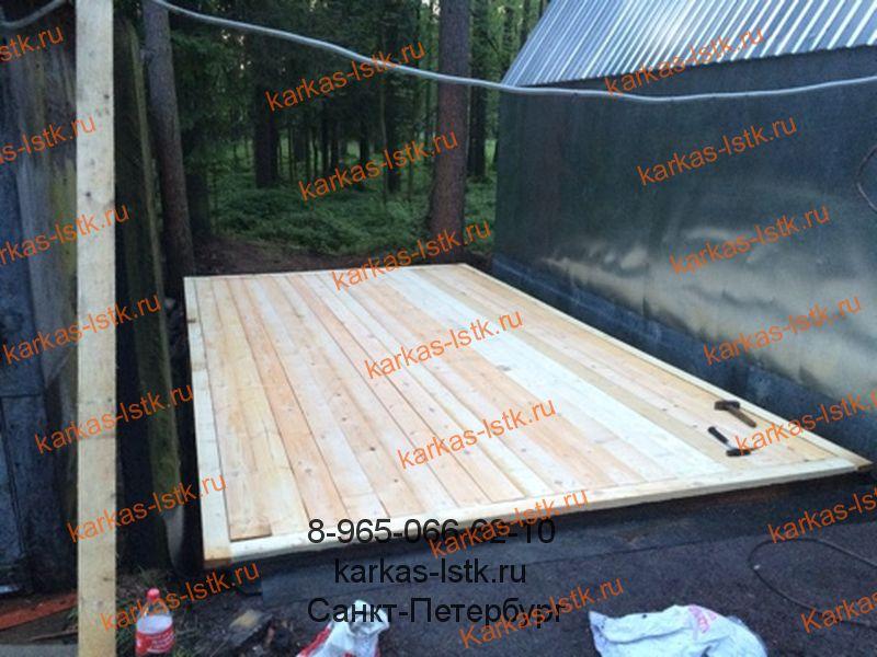 Монтаж деревянного пола в гараже