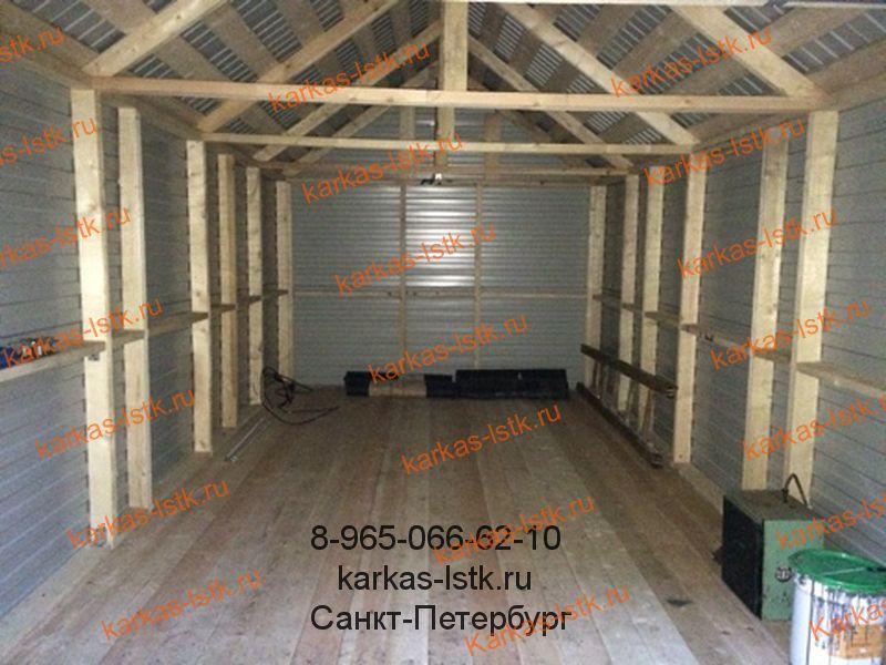 Каркасный гараж на деревянной основе