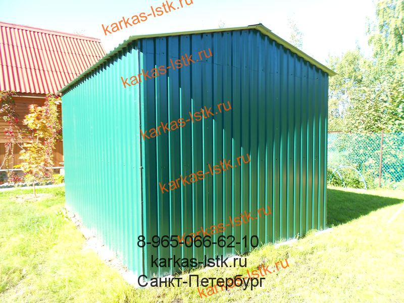 цветной металлический гараж из профлиста