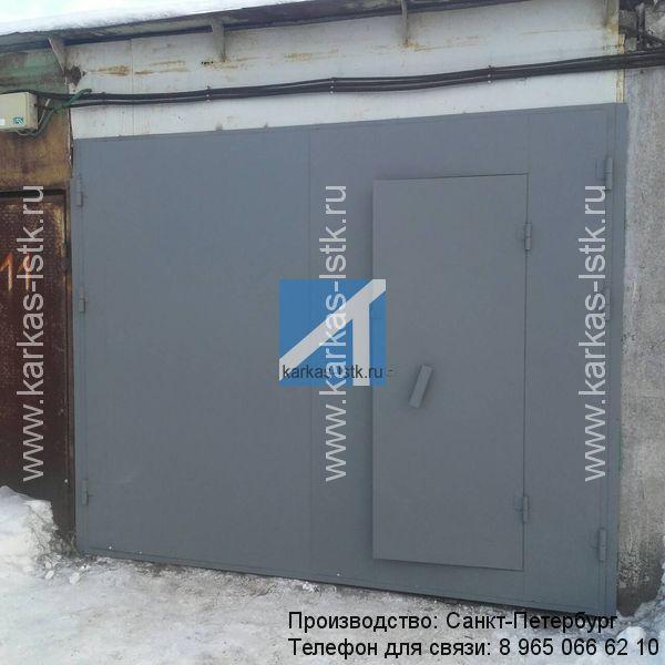 ворота в гараж распашные стальные цена