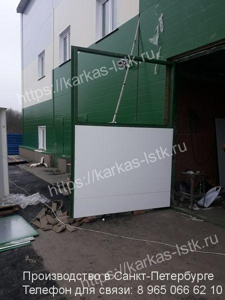 ворота промышленные распашные с окраской
