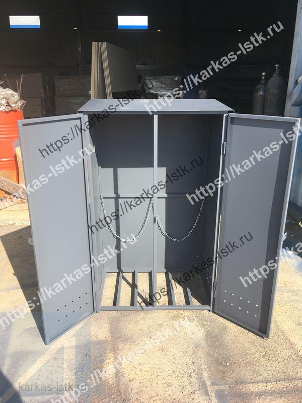 шкафы для баллонов с цепочками для прикрепления