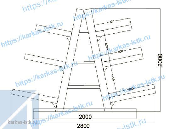 стеллаж елочка двухсторонний схема